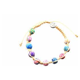 Bracelet Medjugorje fimo sur corde beige s4