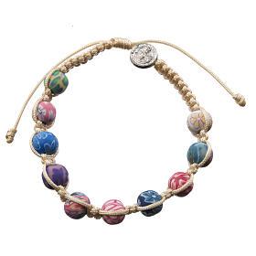 Bracelet Medjugorje fimo sur corde beige s2