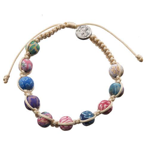 Bracelet Medjugorje fimo sur corde beige 2