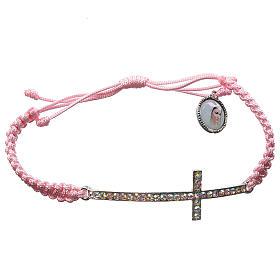 Bracelets, dizainiers: Bracelet Medjugorje corde rose et Swarovski