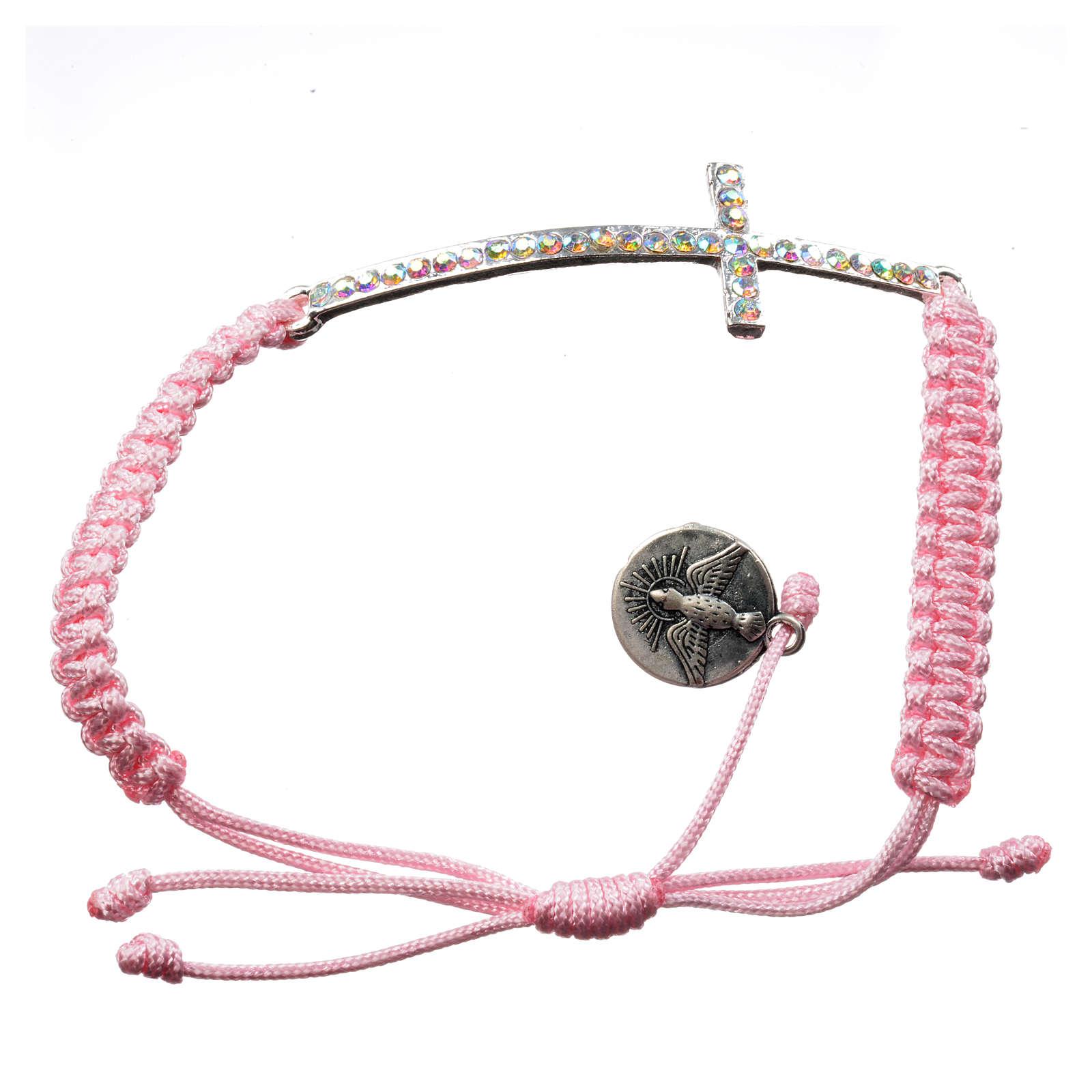 Bracciale Medjugorje corda rosa e Swarovski 4
