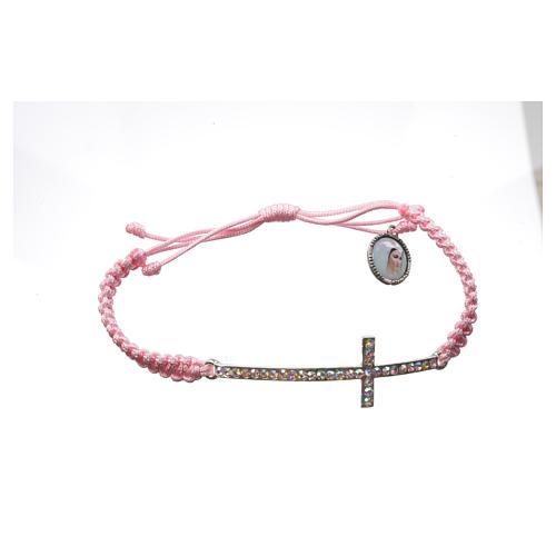 Bracciale Medjugorje corda rosa e Swarovski 3