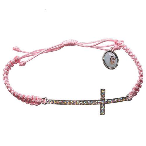Bracciale Medjugorje corda rosa e Swarovski 1