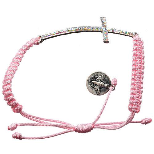 Bracciale Medjugorje corda rosa e Swarovski 2
