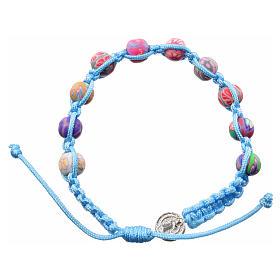 Pulseras, Decenas, Coronillas de la Paz Medjugorje: Pulsera Medjugorje de fimo y cuerda azul claro