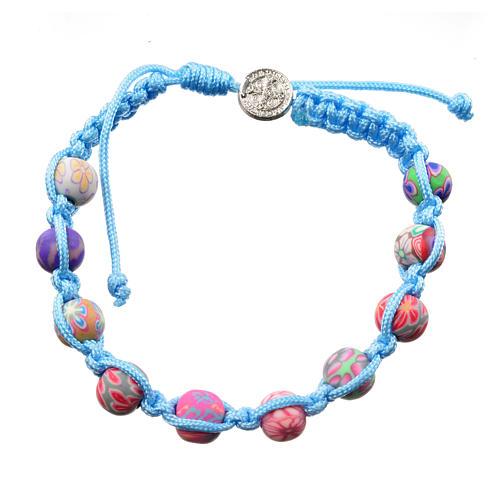 Bracciale fimo Medjugorje corda azzurra 2