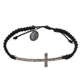 Bracelets, dizainiers: Bracelet Medjugorje corde noire et Swarovski