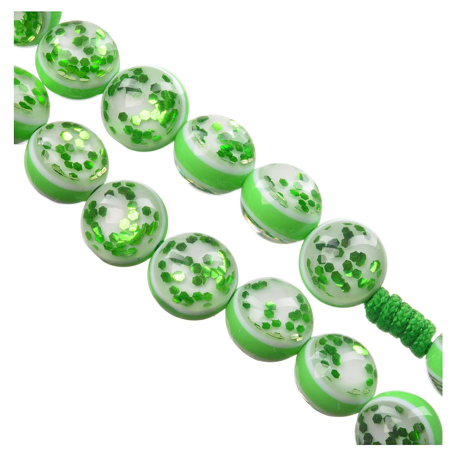 Rosario con terra Medjugorje vetro verde corda 4