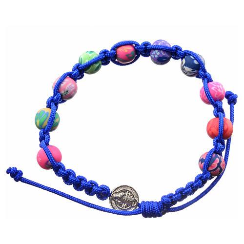 Pulsera Medjugorje de fimo y cuerda azul 1