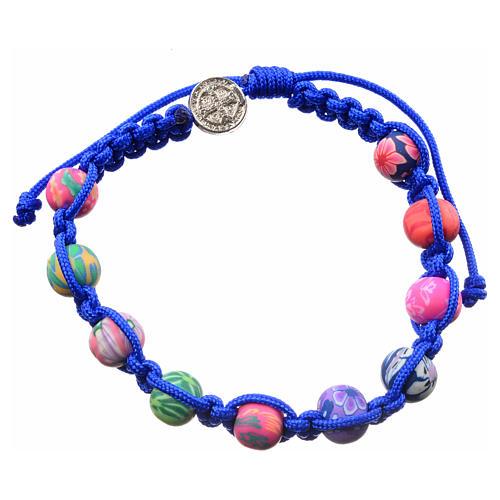 Pulsera Medjugorje de fimo y cuerda azul 2