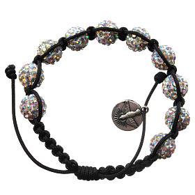 Bracelets, dizainiers: Bracelet Medjugorje perles cristal Swarovski sur corde