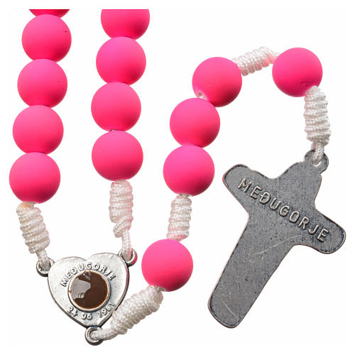 Medjugorje rosary in pink fimo 2