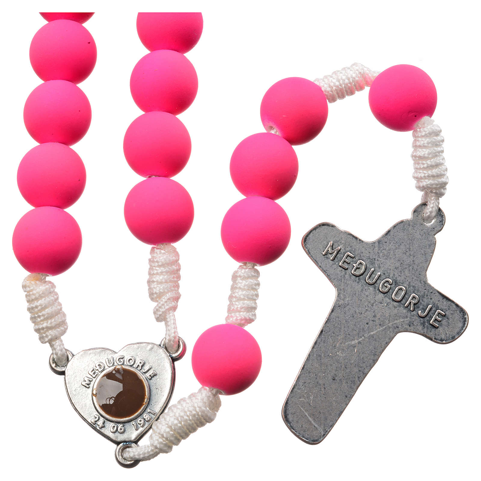 Medjugorje rosary in pink fimo 4