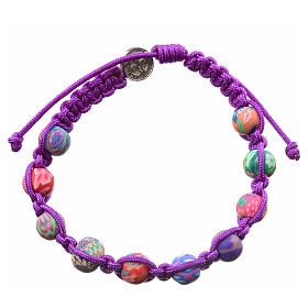 Medjugorje bracelet in fimo, purple cord s2