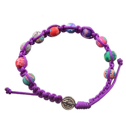 Medjugorje bracelet in fimo, purple cord 1