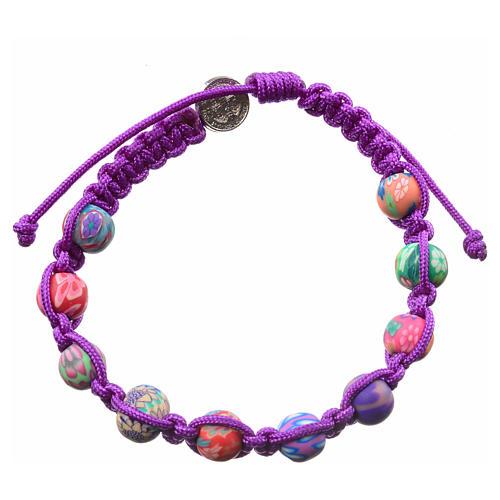 Medjugorje bracelet in fimo, purple cord 2