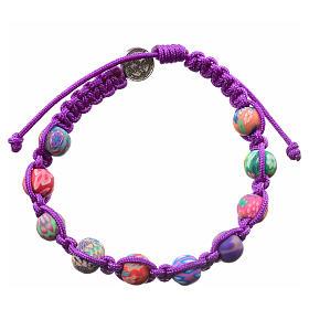 Bracelet Medjugorje fimo corde violette s2