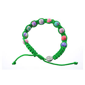 Bracelets, dizainiers: Bracelet Medjugorje fimo sur corde verte