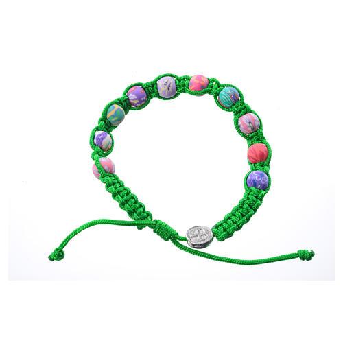 Bracciale fimo Medjugorje corda verde 1