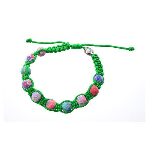 Bracciale fimo Medjugorje corda verde 2