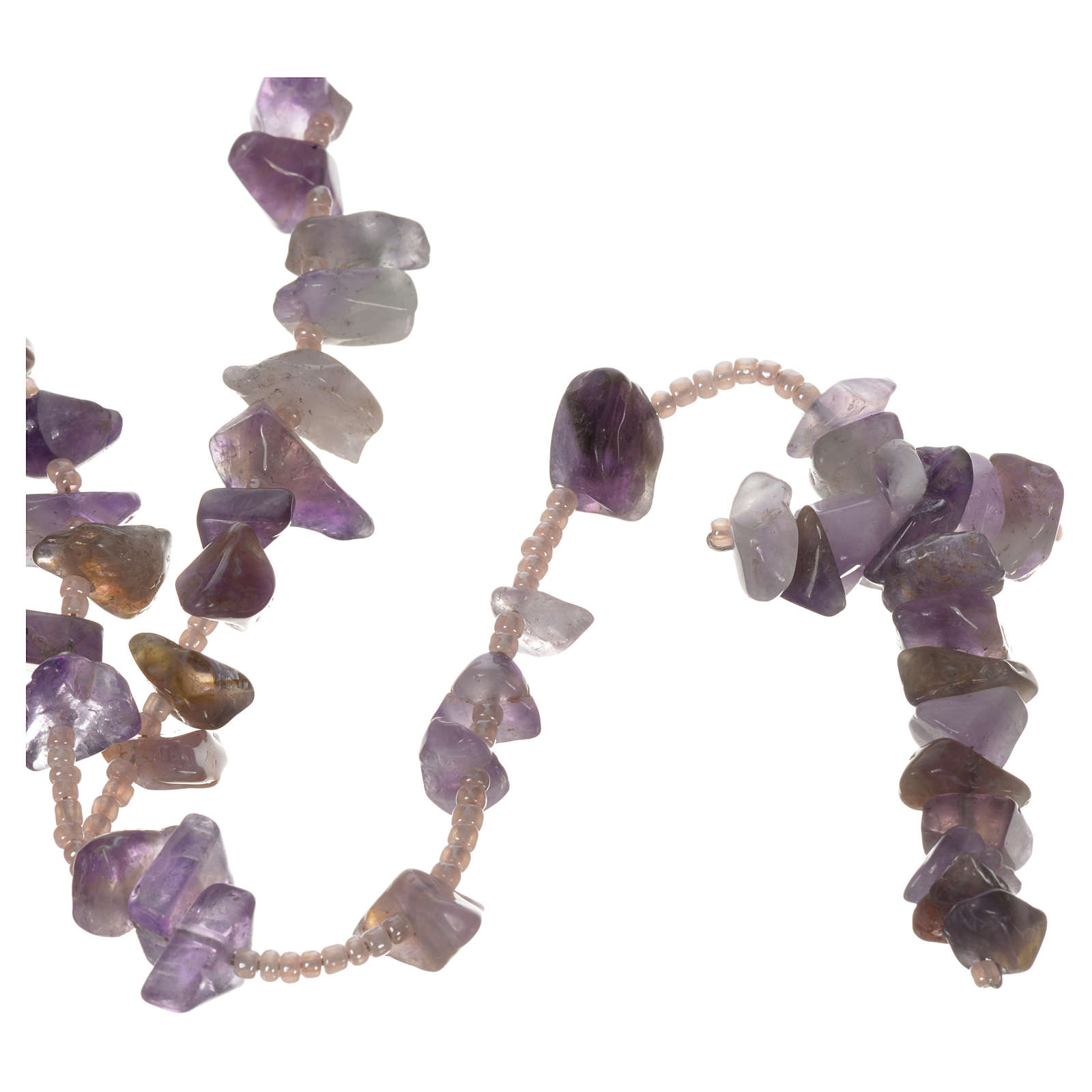 Medjugorje rosary beads in lilac hard stones 4