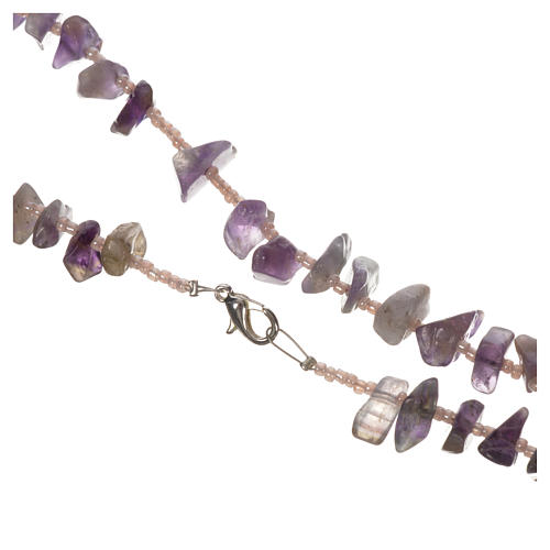 Medjugorje rosary beads in lilac hard stones 2
