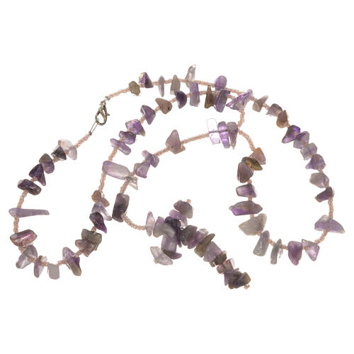 Medjugorje rosary beads in lilac hard stones 3
