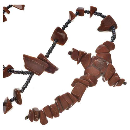 Medjugorje rosary beads in brown hard stones 1