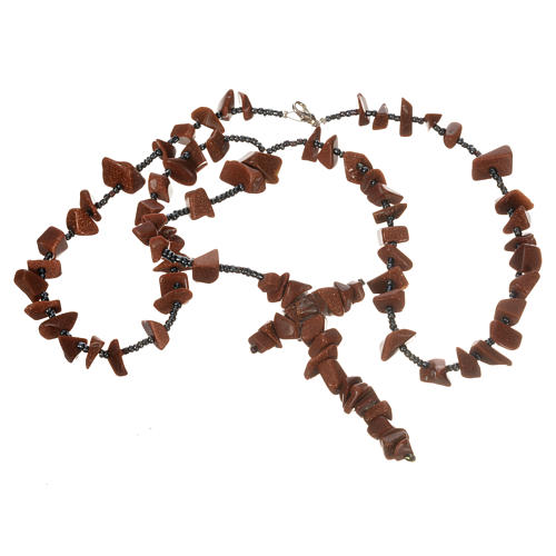 Medjugorje rosary beads in brown hard stones 3