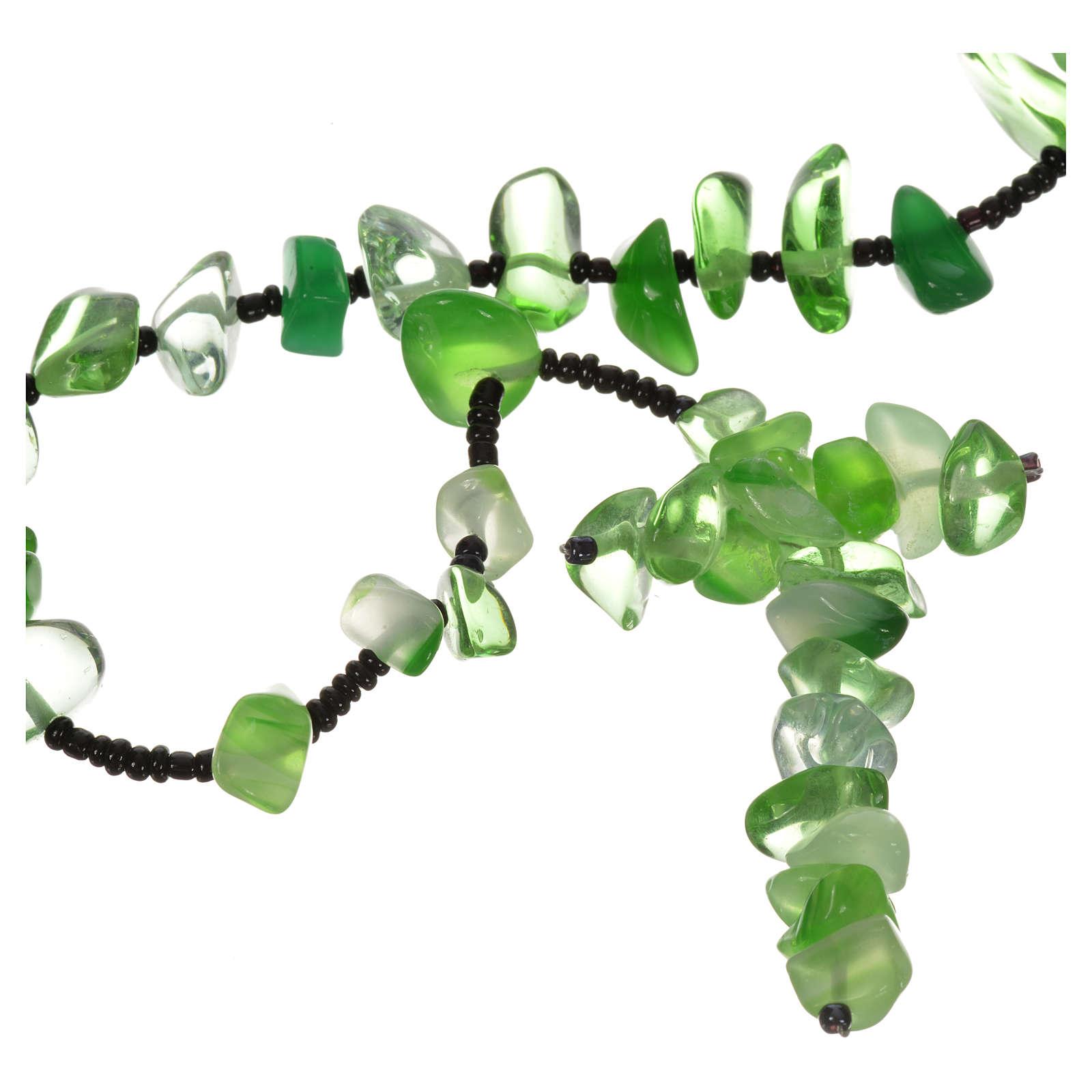 Rosario Medjugorje pietra dura verde trasparente 4