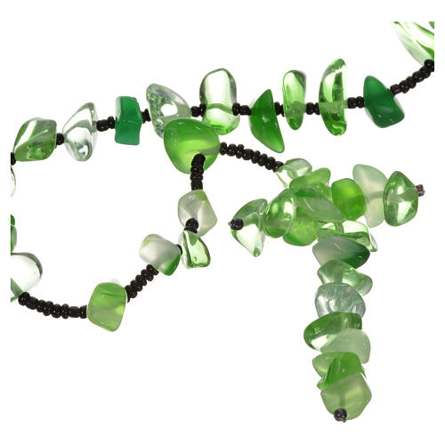 Rosario Medjugorje pietra dura verde trasparente 1