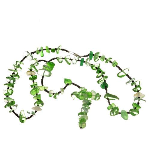 Rosario Medjugorje pietra dura verde trasparente 3