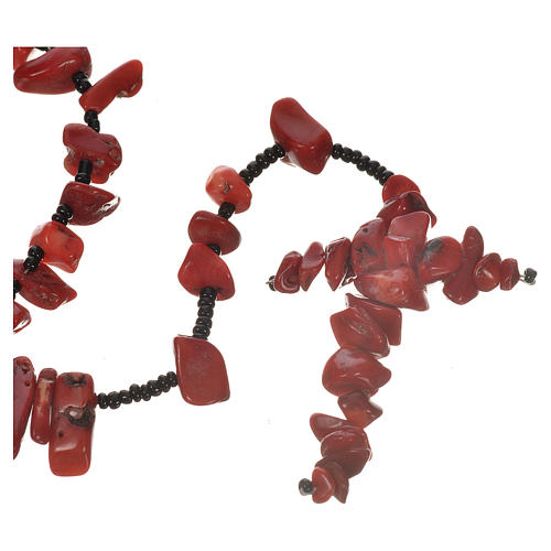 Medjugorje rosary beads in red hard stones 1