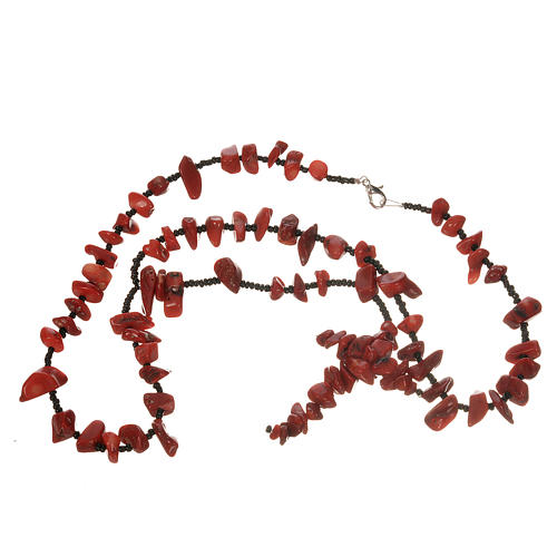 Medjugorje rosary beads in red hard stones 3