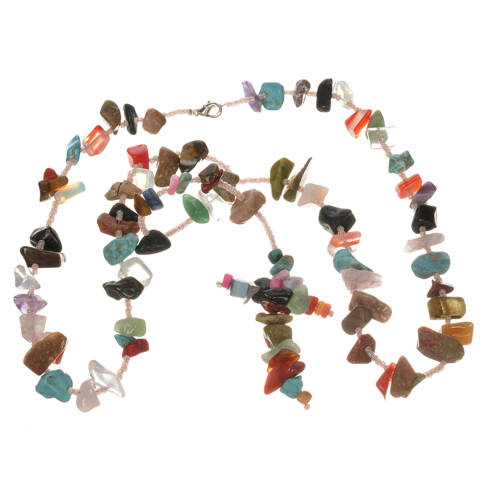 Medjugorje rosary beads in multicoloured hard stones 4