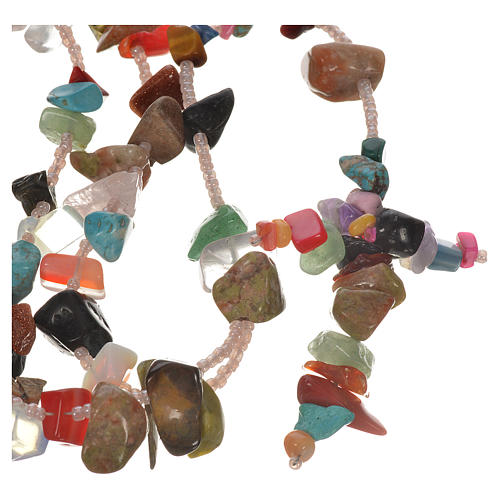 Medjugorje rosary beads in multicoloured hard stones 1