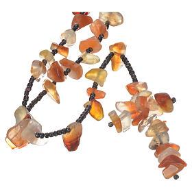 Chapelets et boîte chapelets: Chapelet Medjugorje pierre dure couleur ambre opaque