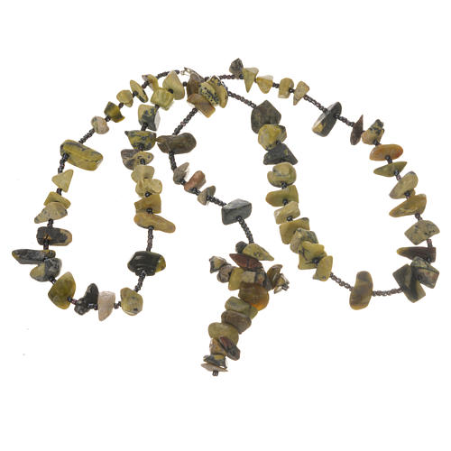 Medjugorje rosary beads in shades of green hard stones 6