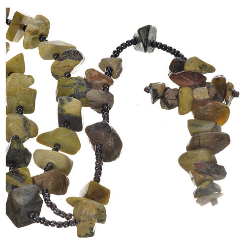 Medjugorje rosary beads in shades of green hard stones 1