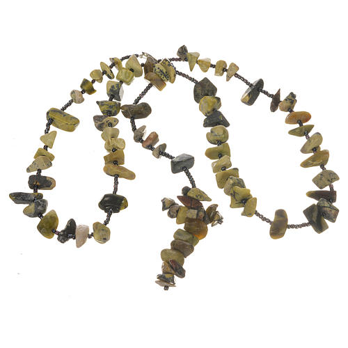 Medjugorje rosary beads in shades of green hard stones 3