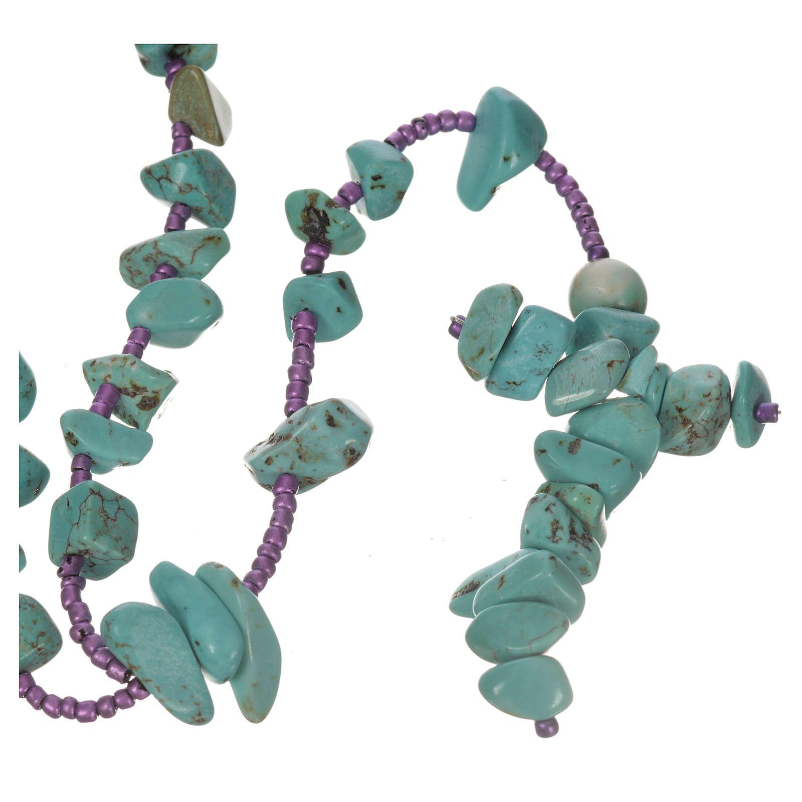 Medjugorje rosary beads in aqua green hard stones 4