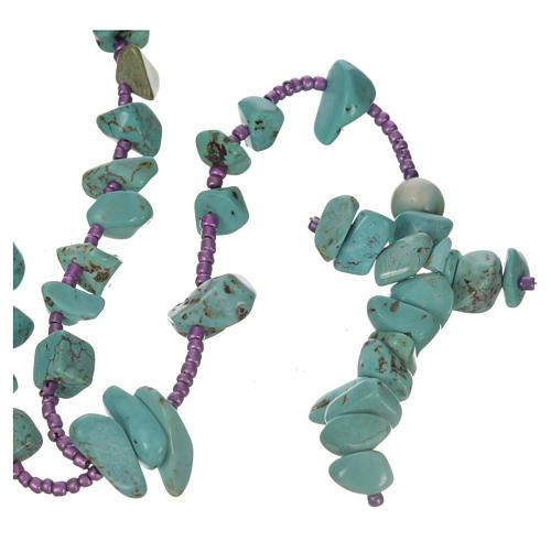 Medjugorje rosary beads in aqua green hard stones 1