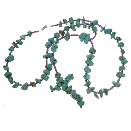 Medjugorje rosary beads in aqua green hard stones 3