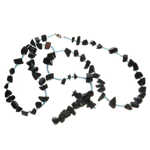 Medjugorje rosary beads in black hard stones 3