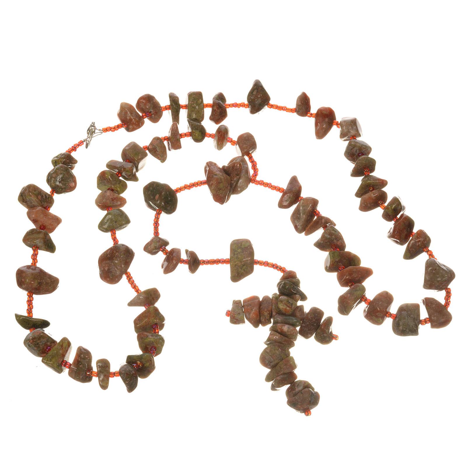 Rosario Medjugorje pietra dura color marmo rosso 4