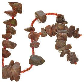 Rosario Medjugorje pietra dura color marmo rosso s1