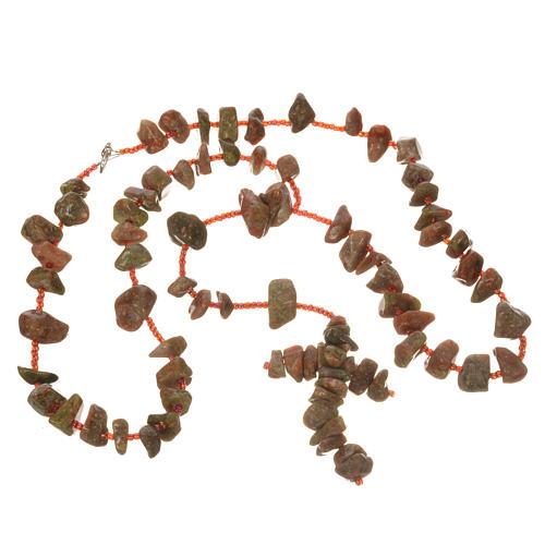 Rosario Medjugorje pietra dura color marmo rosso 3