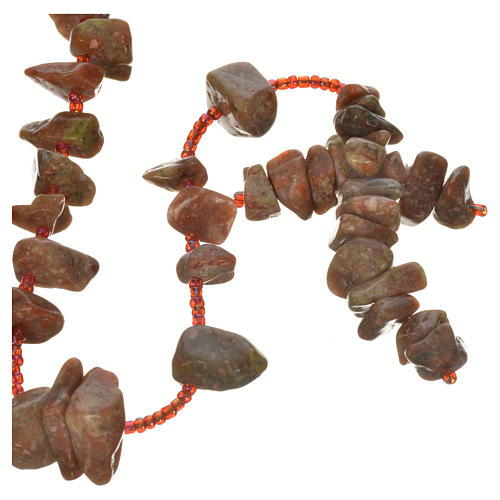 Medjugorje rosary beads in red marble coloured hard stones 1