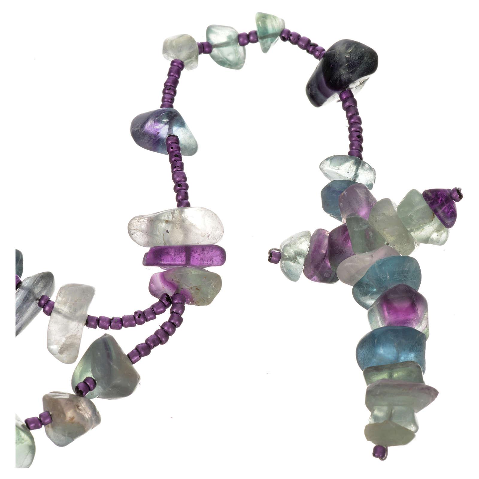 Medjugorje rosary beads in sea green hard stones 4