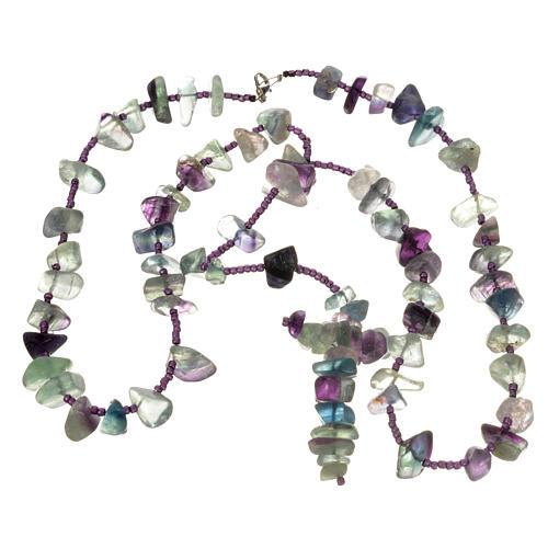 Medjugorje rosary beads in sea green hard stones 3